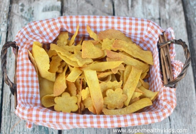 Super Crispy Baked Corn Chips and Scoops. Corn chips don't have to be deep fried, and homemade ones don't have to take very long either.