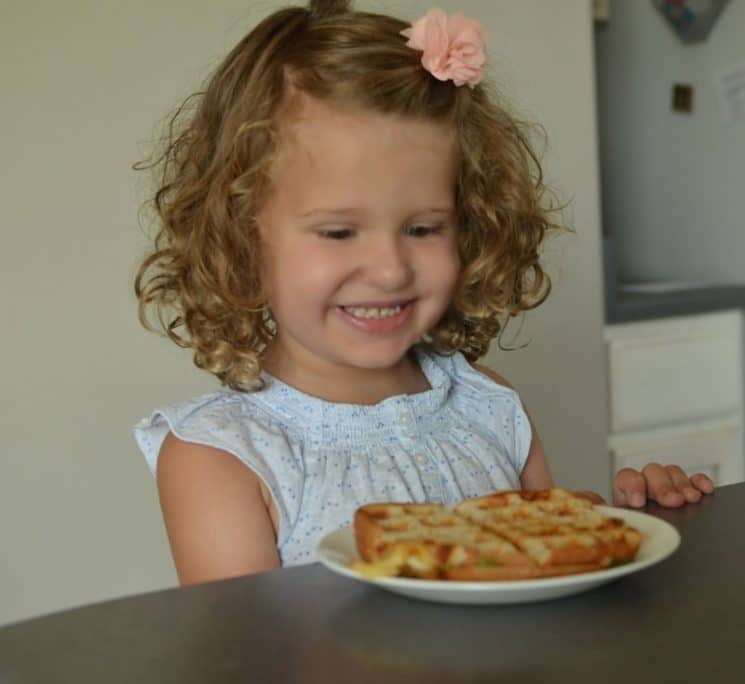 Grilled Cheese Wafflewich. First kitchen skills for kids- The waffle iron!