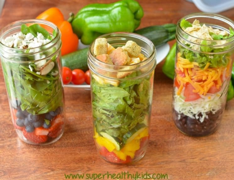 Salad Jars. Be prepared! We love this simple way to have a healthy lunch ready to eat, any time!