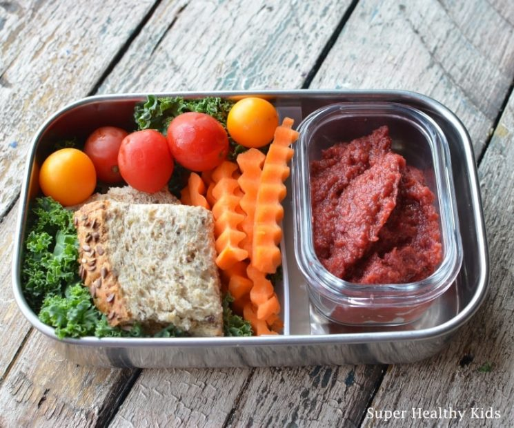 Carrot-Berry Lunchbox Applesauce. Combining fruits AND veggies in this favorite lunch box food!