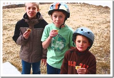 boys eating cookies