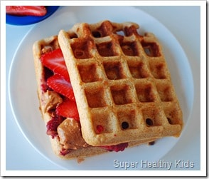 peanut butter and jelly waffle sandiwch