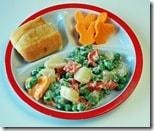 pea salad on portion plate