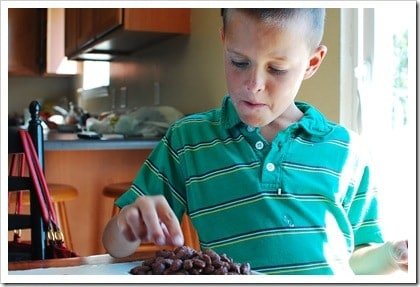 Kids can't seem to stop eating these yummy chocolate covered almonds!