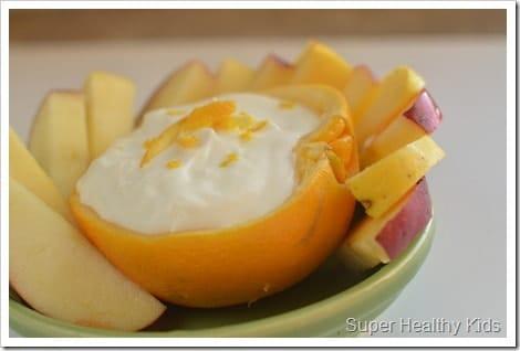 Orange Bowl Fruit Dip. Repurpose the peel and wash less dishes!