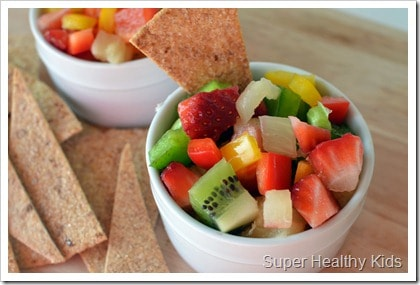 fruit salsa with cinamon chips