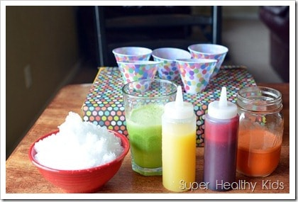 Kids bummed they don't have a snow cone maker? They don't need one to make our super healthy, dye-free, rainbow snow cones!