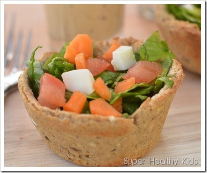 bread bowl with salad for kids