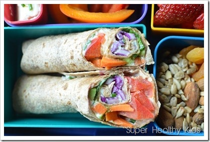 Rainbow Wraps and Chives Recipe. All the colors in one, kid friendly wrap!