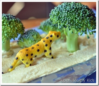 broccoli in hummus for kids