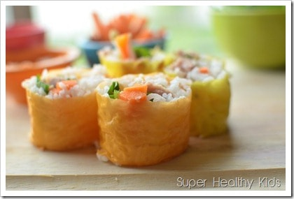 Tuna and rice sushi in soy wrappers