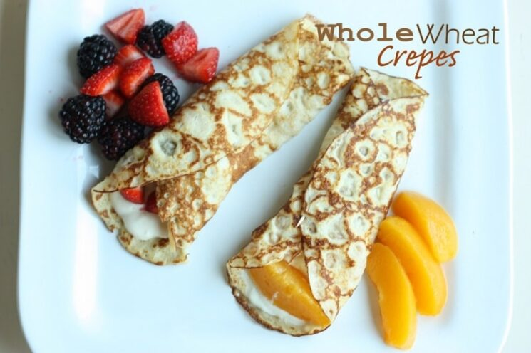 We have so much fun with crepes. We love that you can have them for dinner , dessert, or breakfast! This whole wheat recipe is the one you'll want to save for the next time you make them!